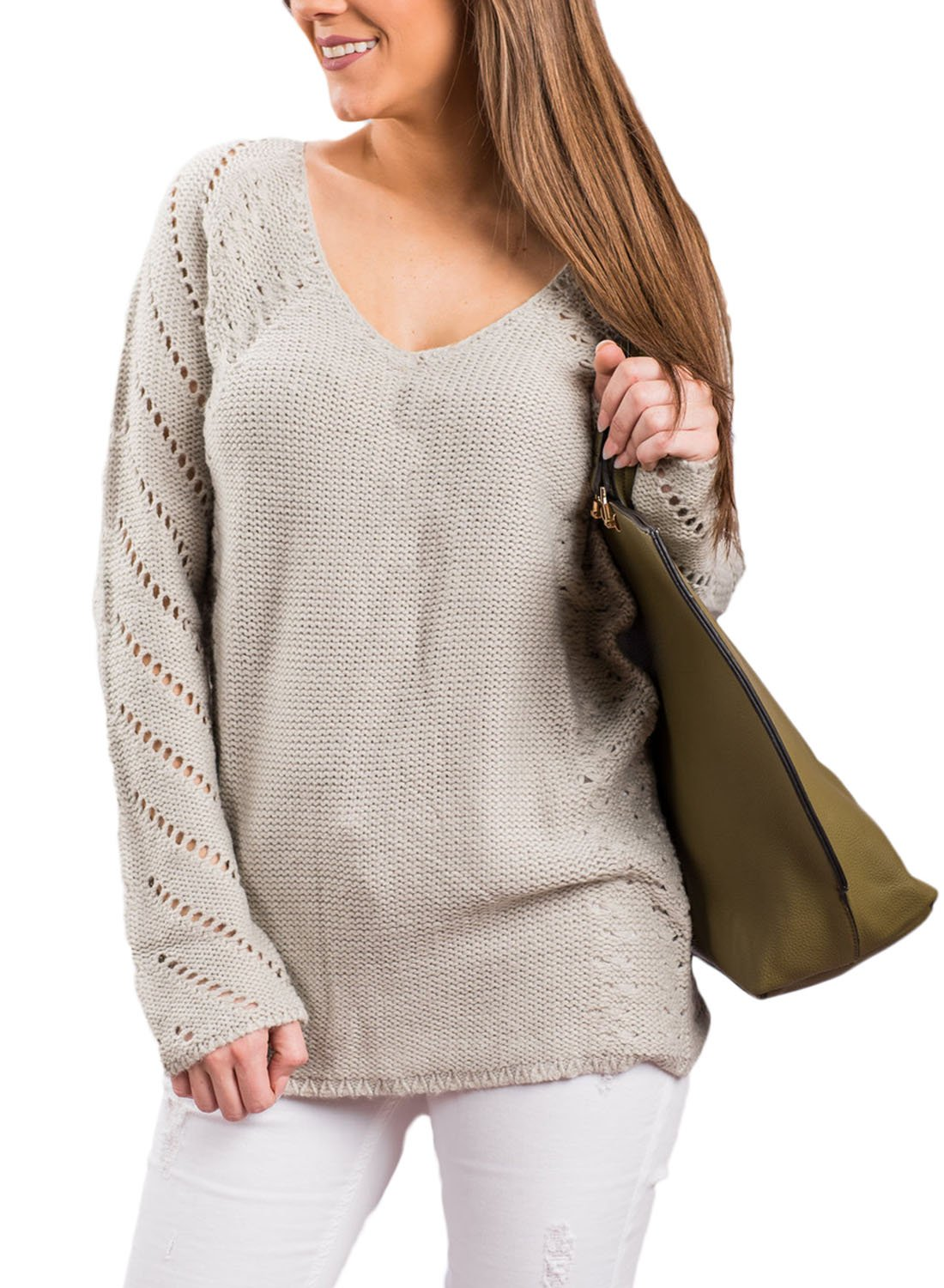 Sidefeel Women Loose V Neck Oversized Knitted Baggy Sweater Pullover Large Grey