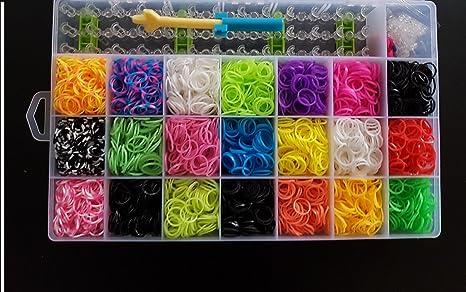 6000 Bänder Familie Webstuhl Set 15 Charms Mini Regenbogen Armband Bunt Sclips