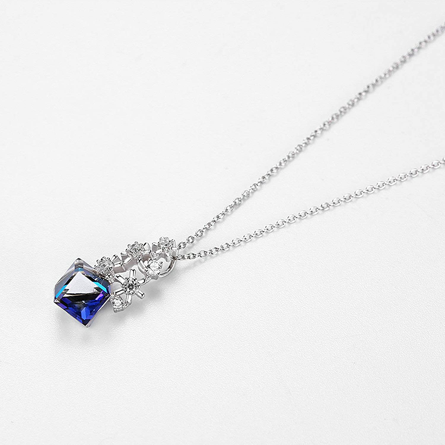 Aooaz Jewelry Pendant Necklaces for Women Snowflakes Cube Silver Material Chain Necklaces