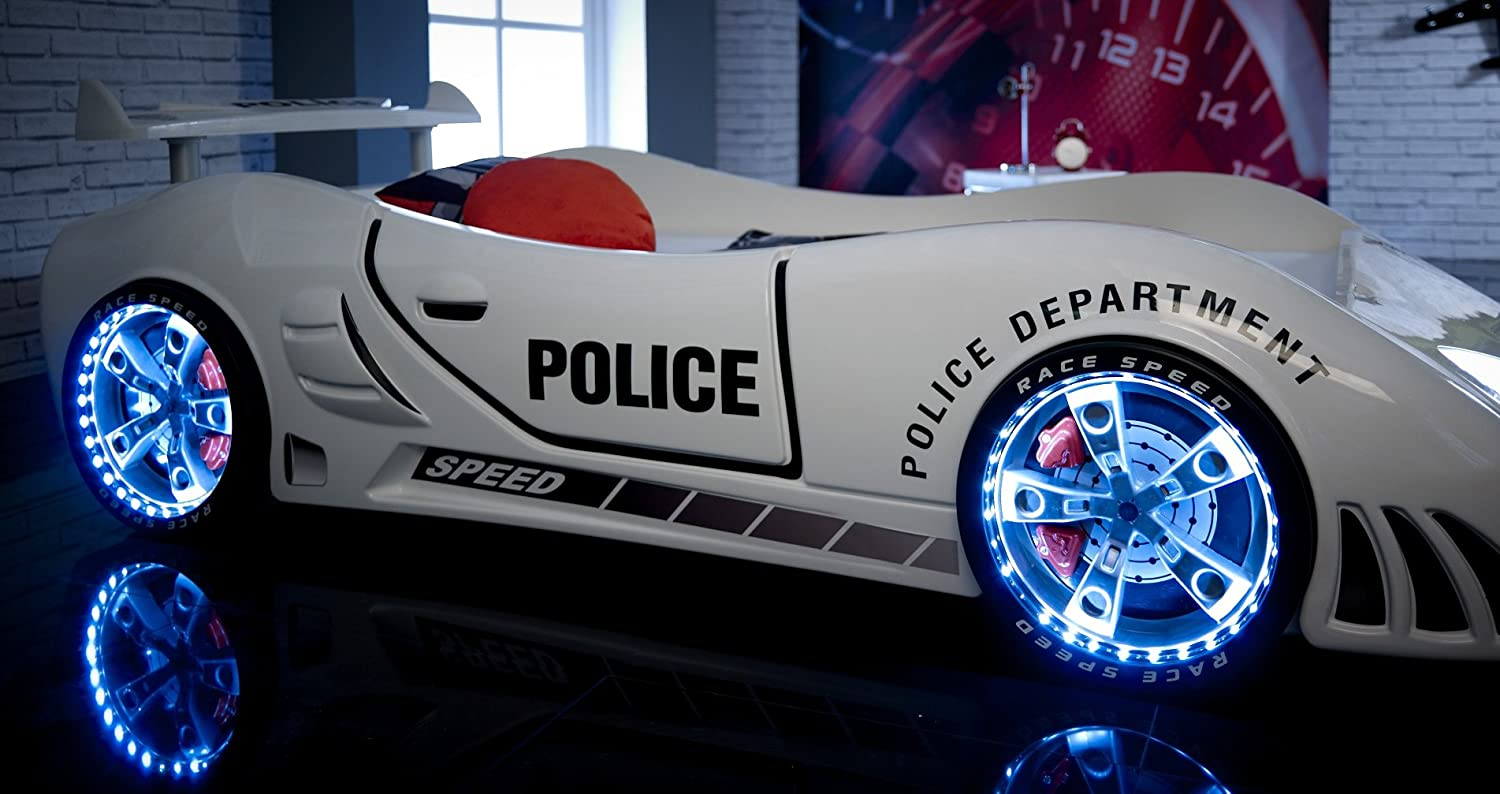 police 3ft super car bed led lights sound white childrens kids boys beds amazoncouk kitchen u0026 home