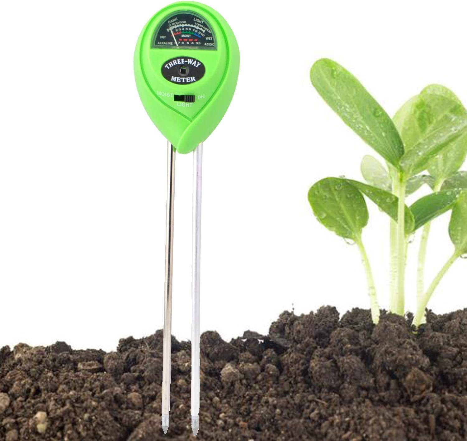 MAOXIC Soil pH Meter, 3-in-1 Soil Water Test Kit with Moisture, Light and PH Tester for Potted Plants, Indoor Plant, Outdoor Plants, House Plants, Lawns, Garden, Vegetables, Farm (No Battery Needed)