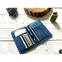 Porta documentos color azul 100% piel porta pasaporte cartera