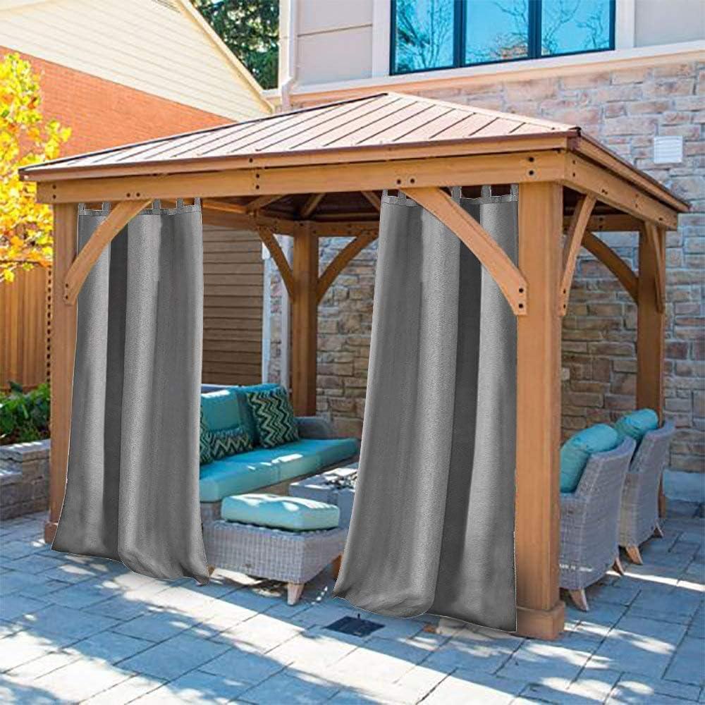 Domdil - Cortina para exterior con cierre de velcro, para jardín, balcón, cortinas opacas, resistente al agua, resistente a la harina, para cenador, 1 pieza, 132 x 275 cm, gris: Amazon.es: Jardín