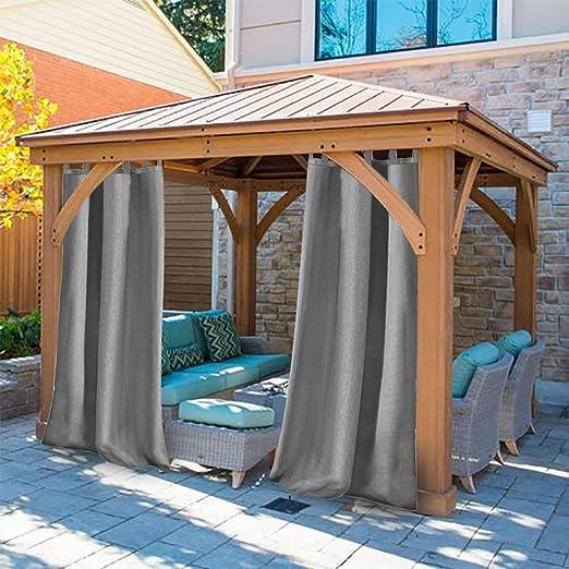 DOMDIL - Cortina para Exterior con Cierre de Velcro, para jardín, balcón, Cortinas Opacas, Resistente al Agua, Resistente a la harina, para cenador, 1 Pieza, 132 x 275 cm, Gris, 4 Pack: Amazon.es: Jardín