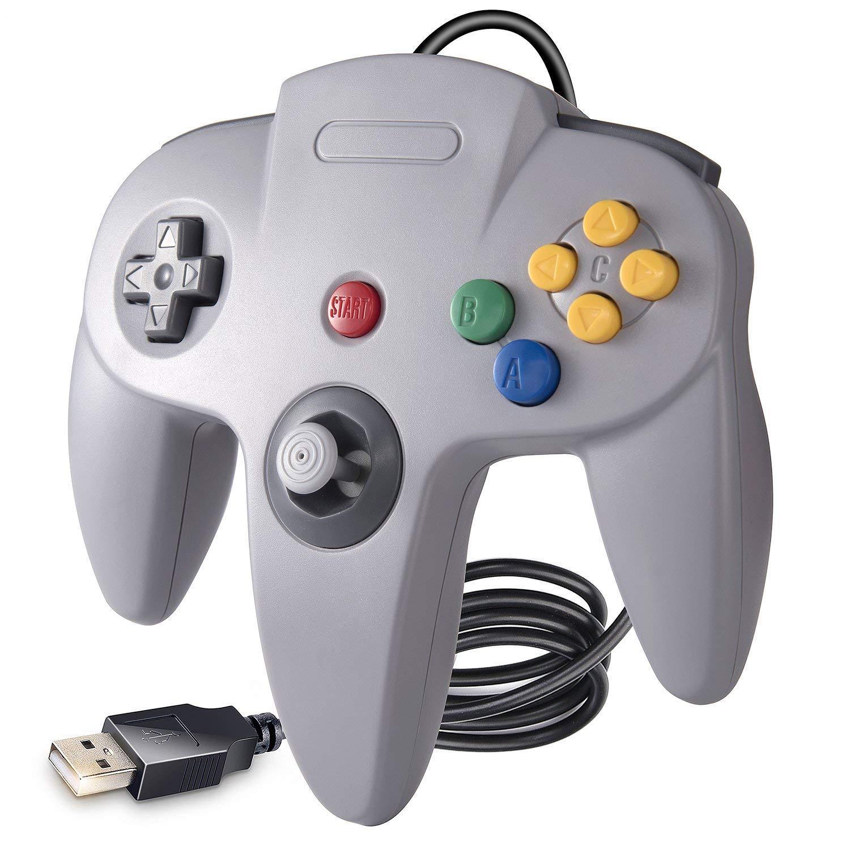 suily N64 Game Controller, Classic N64 Bit USB Controller fü r Windows PC MAC Linux Raspberry Pi 3, Grau …