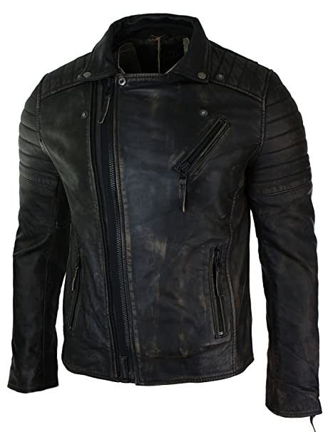 Mens Biker Infinity Slim Fit Brando Cross Zip Vintage ...