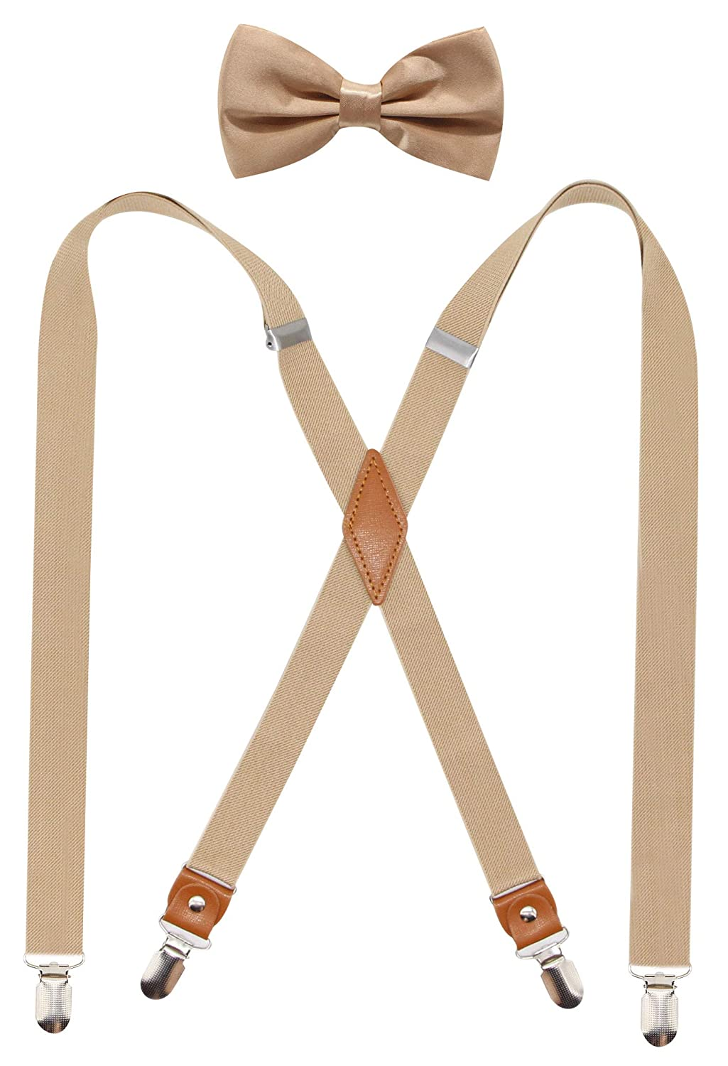 Timiot Mens Suspender and Bowtie Set X Back Heavy Duty Adjustable Elastic Clips
