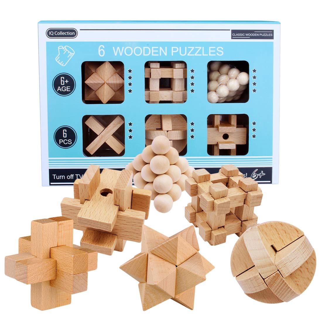 LoKauf 6St. Holz Knobelspiele Set IQ Puzzle 3D Knifflige Spiele Rä tsel Brainteaser Denkspiel Logikspiele Geduldspiele Adventskalender Inhalt fü r Kinder und Erwachsene