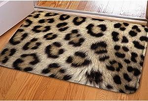 INSTANTARTS Cool Leopard Print Entrance Floor Rug Non-Slip Flannel for Bedroom Bathroom Kitchen