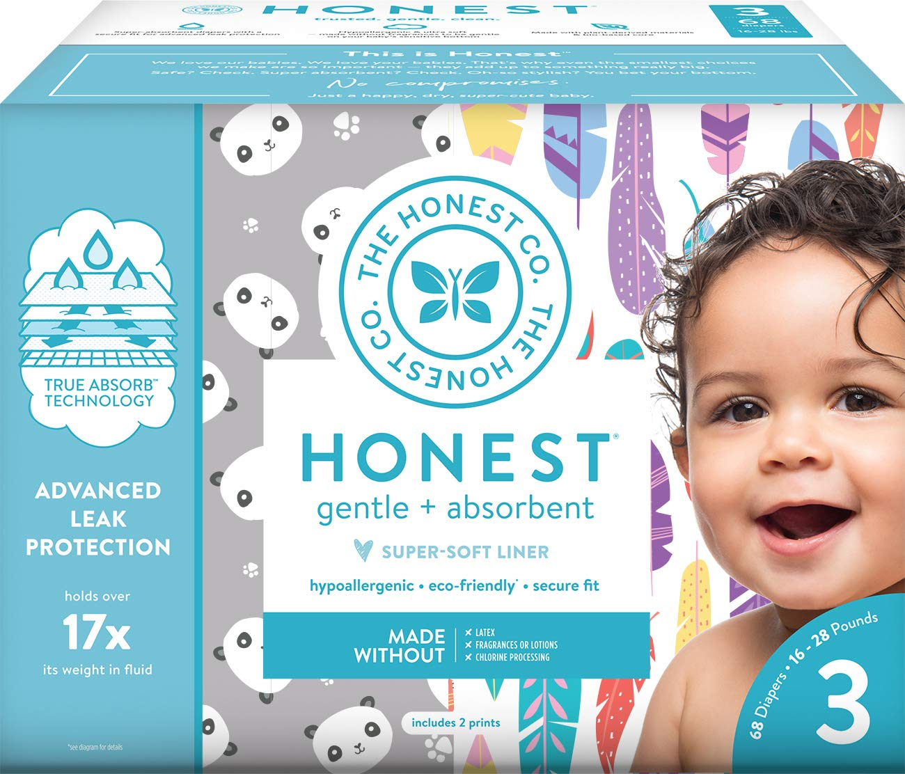 The Honest Company Club Box Diapers with TrueAbsorb Technology, Pandas & Safari, Size 1, 80 Count The Honest Company HPC