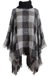 21b50faa15eff QZUnique Women Turtleneck Poncho Sweater Knit Cape Pullover Shawl Tassels  Plaid