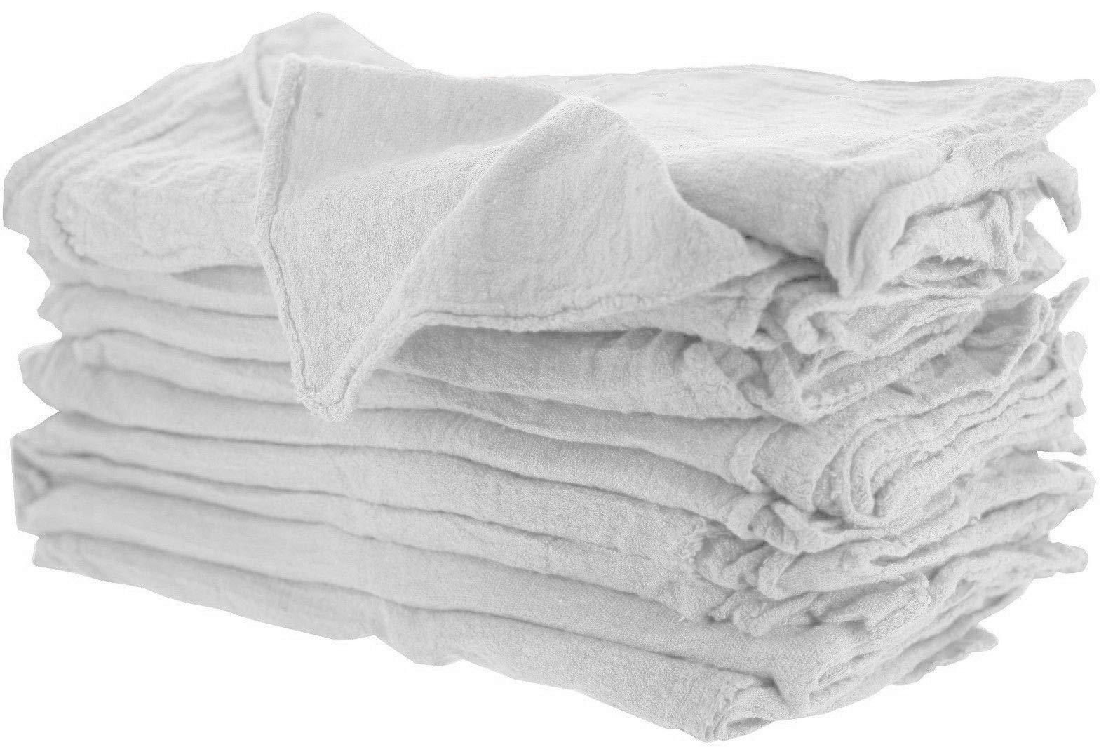 GHP 100-Pcs 14''x15'' White Standard Size Cotton Osnaburg Fabric Hemmed Shop Rag Towels
