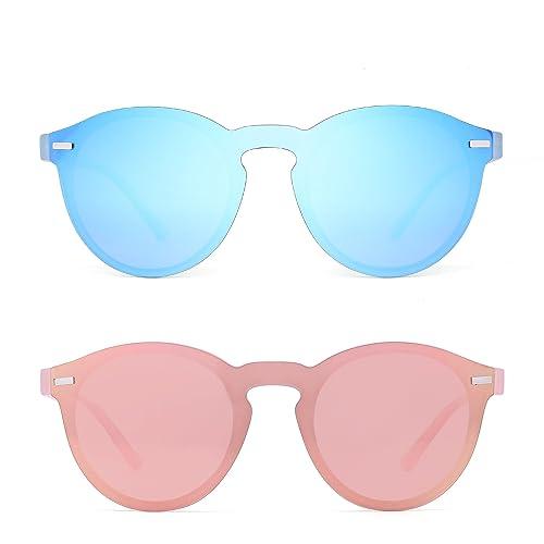 Amazon.com: anteojos de sol polarizadas Rimless reflectante ...