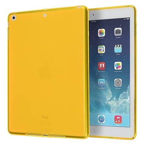 doupi PerfectFit Funda compatible con iPad Air (1. Gen.) A1474 A1475 A1476 TPU Ligero Estuche Protección, amarillo