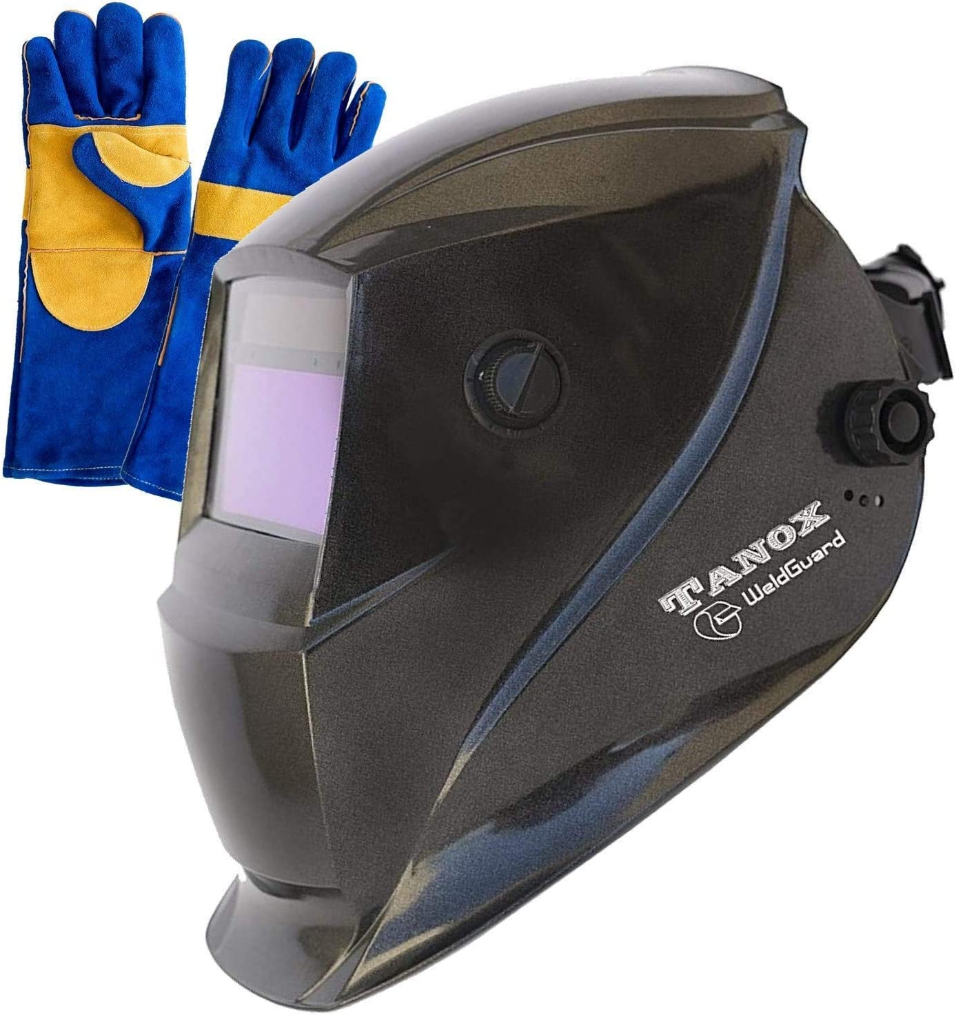 Tanox Auto Darkening Solar Powered Welding Helmet ADF-206S: Shade ...