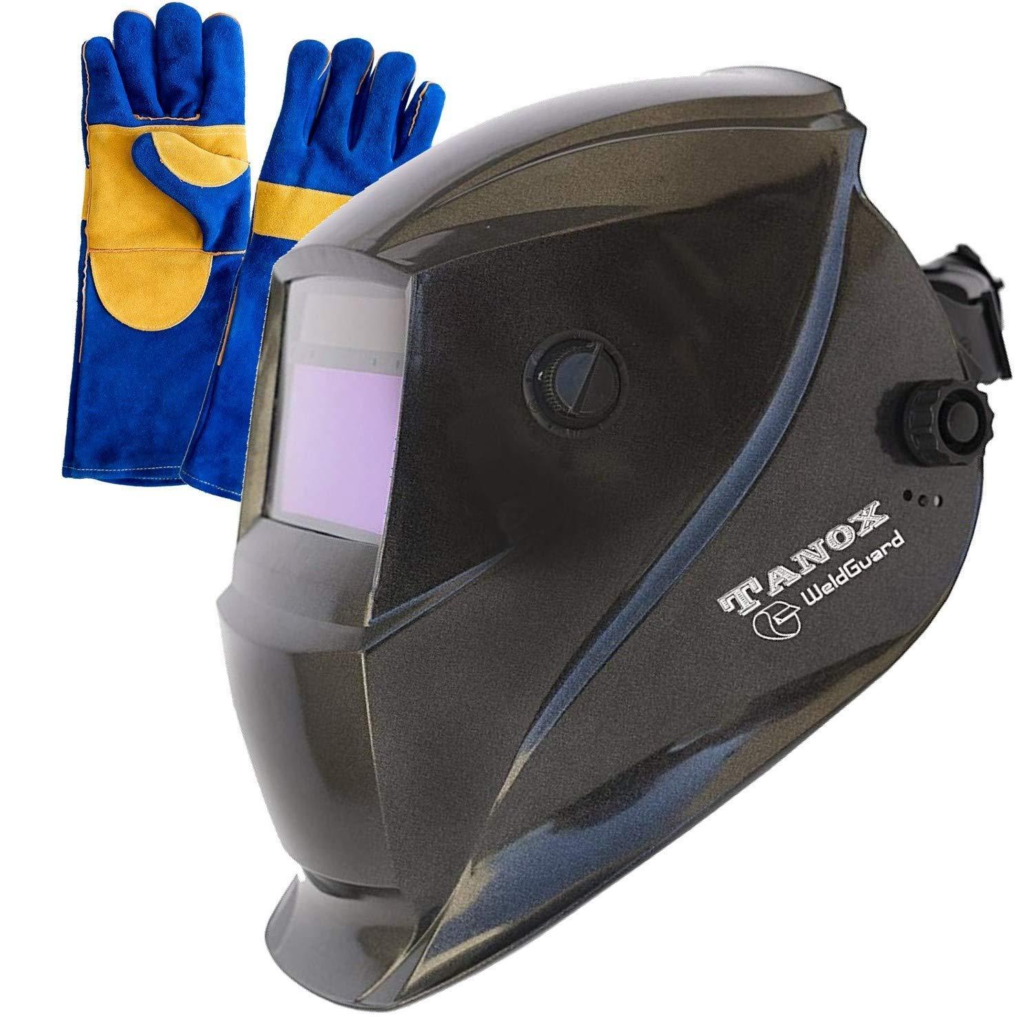Tanox Auto Darkening Solar Powered Welding Helmet ADF-206S: Shade Lens, Tig Mig MMA, Adjustable Range 4/9-13, Grinding 0000, Plus 16 Inch Kevlar Fire Retardant Welding Gloves by Tanox