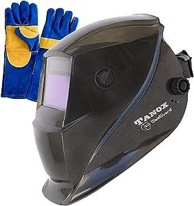 Tanox Auto Darkening Solar Powered Welding Helmet ADF-206S: Shade Lens, Tig Mig MMA, Adjustable Range 4/9-13, Grinding 0000, Plus 16 Inch Kevlar Fire Retardant Welding Gloves