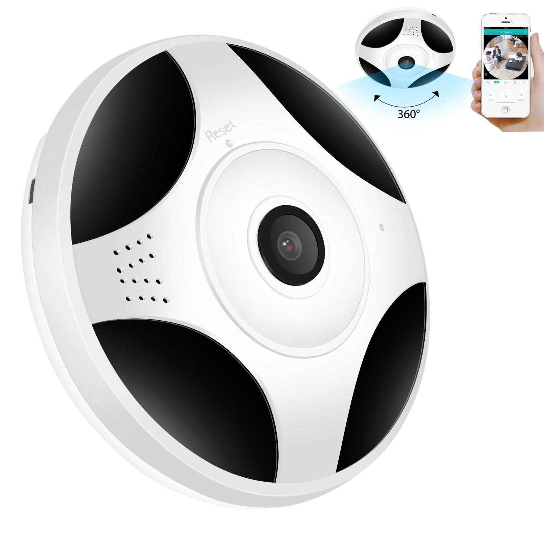 GARUNK Wireless Home Security Camera, HD 960P 360 Degree Panoramic Home Security Camera, Baby Pet Monitor Night Vision Two-Way Audio, Motion Detection Surveillance Camera