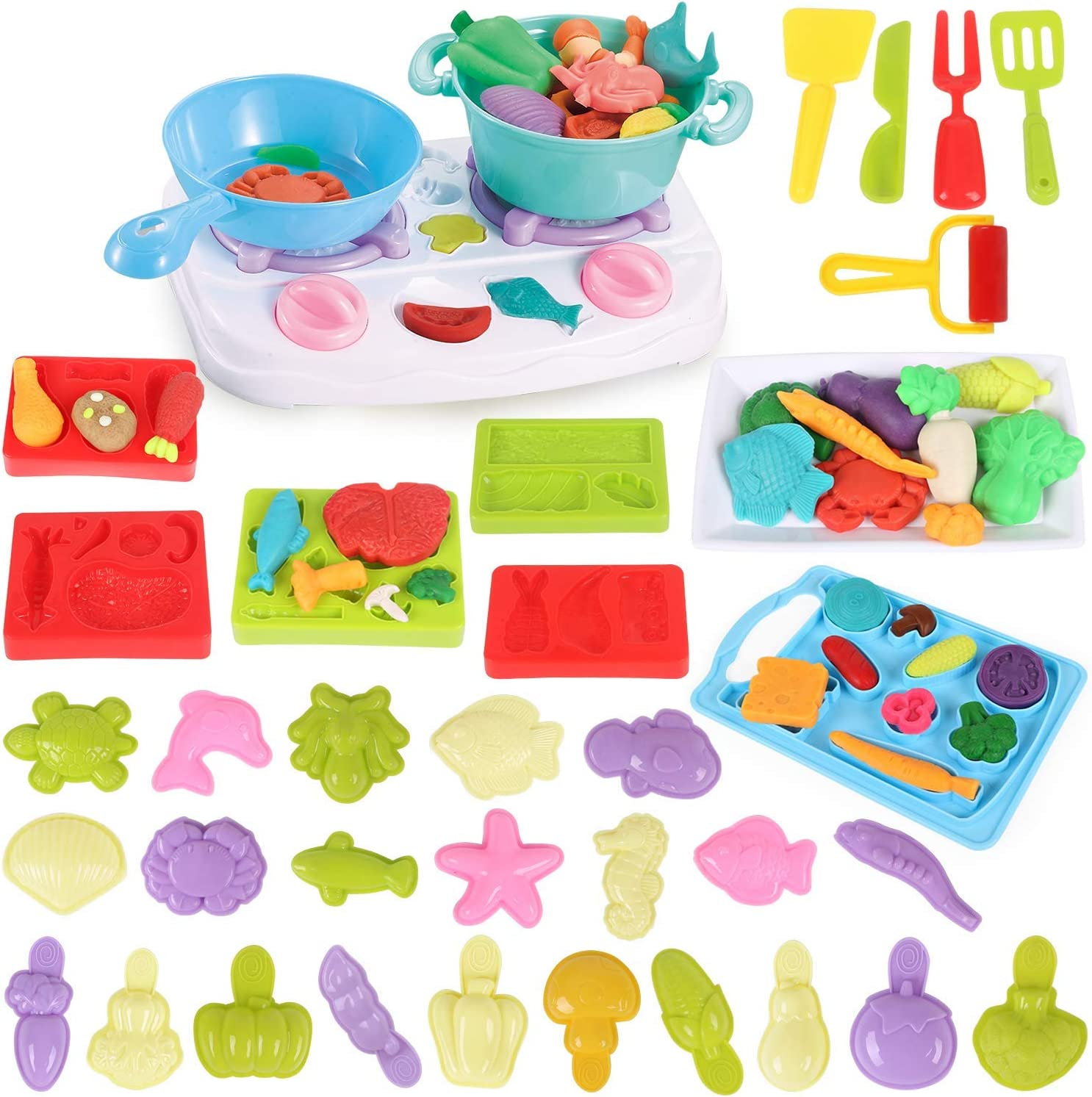 Pony Toy Playdough Kitchen Pretend Play Accessories Creations Set for boys and girls,Contains No Dough