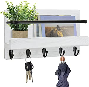 Key Holder for Wall with Mail Shelf, White Wall Mail Organizer with 5 Key Hooks, Decorative Key Hanger with Mail Shelf, Key Rack with Storage Shelf for Entryway Hallway