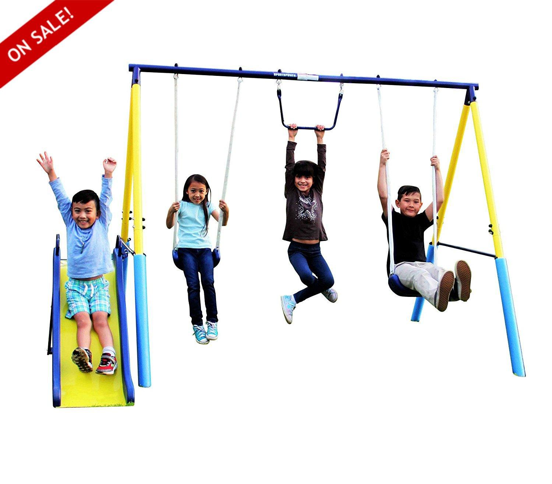 メタルスイングセットスライド裏庭楽しいアウトドア子供Happy Hour with物理アクティビティand Exercise – Skroutz B075PG217Z