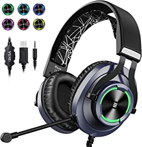 EKSA USB Gaming Headset PS4 Xbox One Headset with Noise Cancelling Mic & RGB Light - Gaming Headphones for PC, Laptop, Xbox One Controller (Adapter Not Included), Playstation 4, Electroplated (Blue)