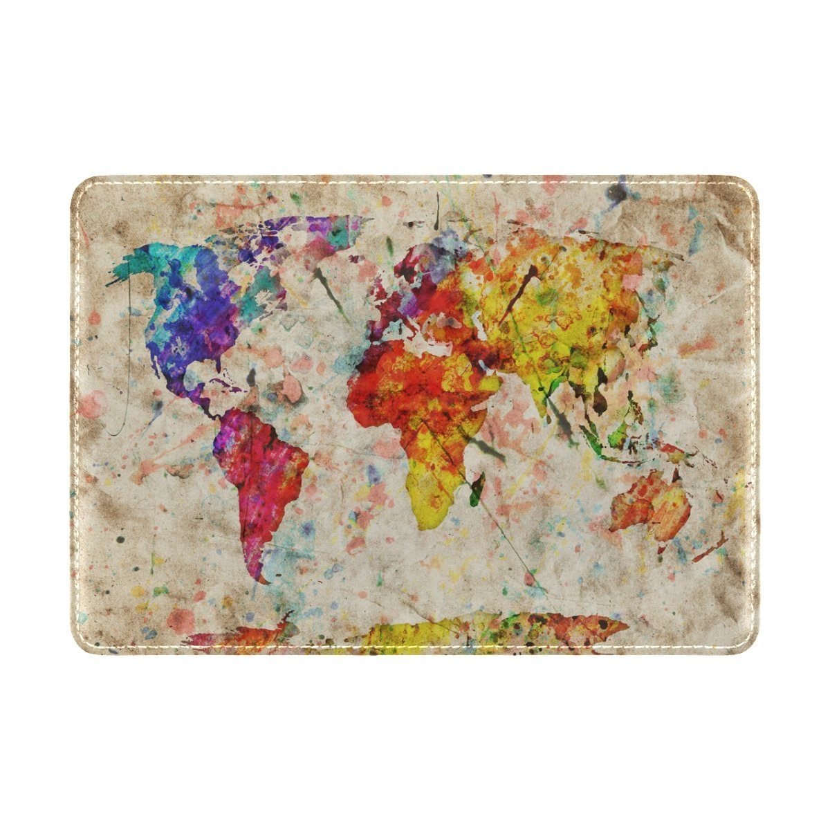 Watercolor Rainbow World Map Travel Passport Covers Holder Case Waterproof Protector by ALAZA