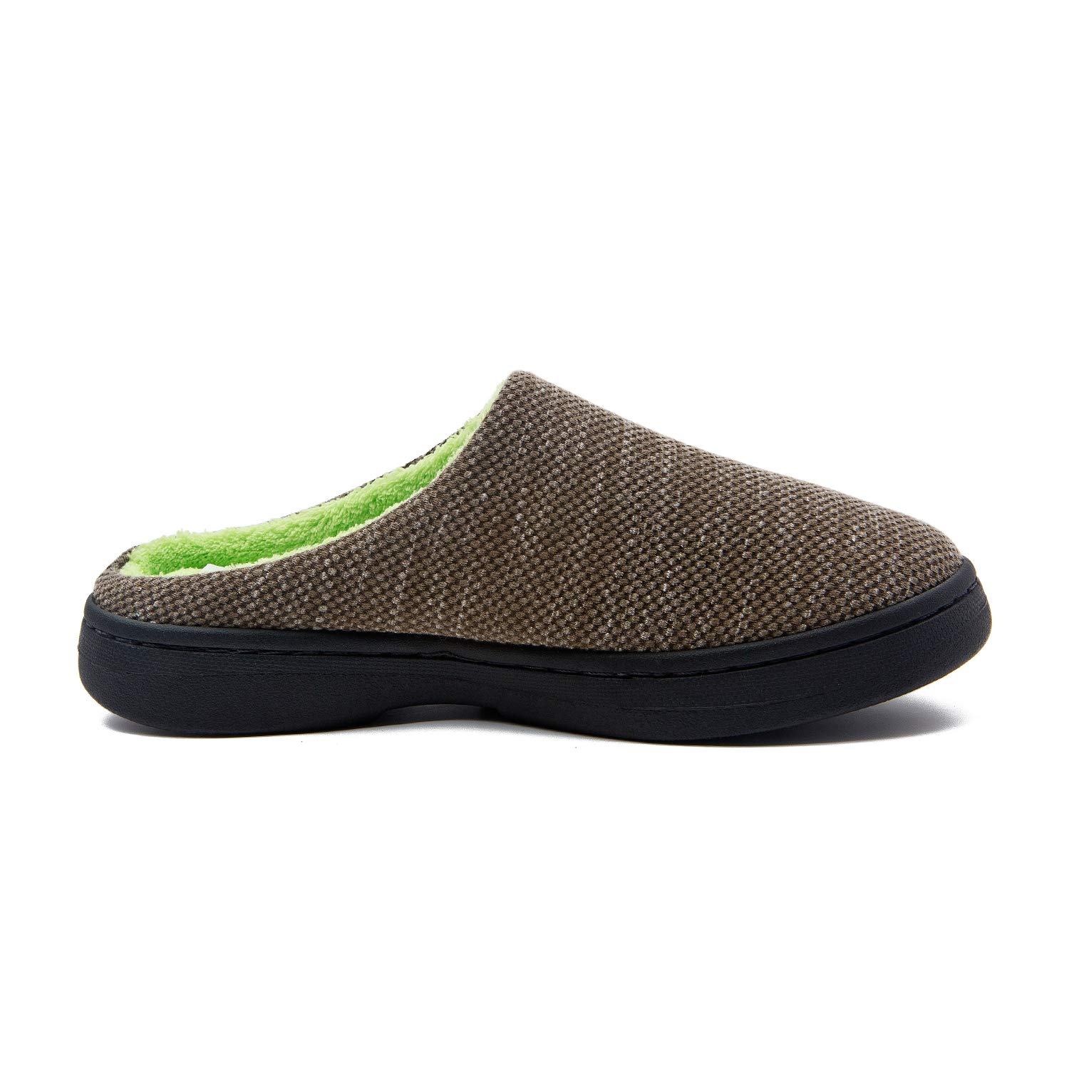 Slippers for Men Memory Foam Warm Cozy Slip On Home House Shoes Rubber Sole Non-Slip Indoor Outdoor Winter (7-8, Army Green/Emerald)