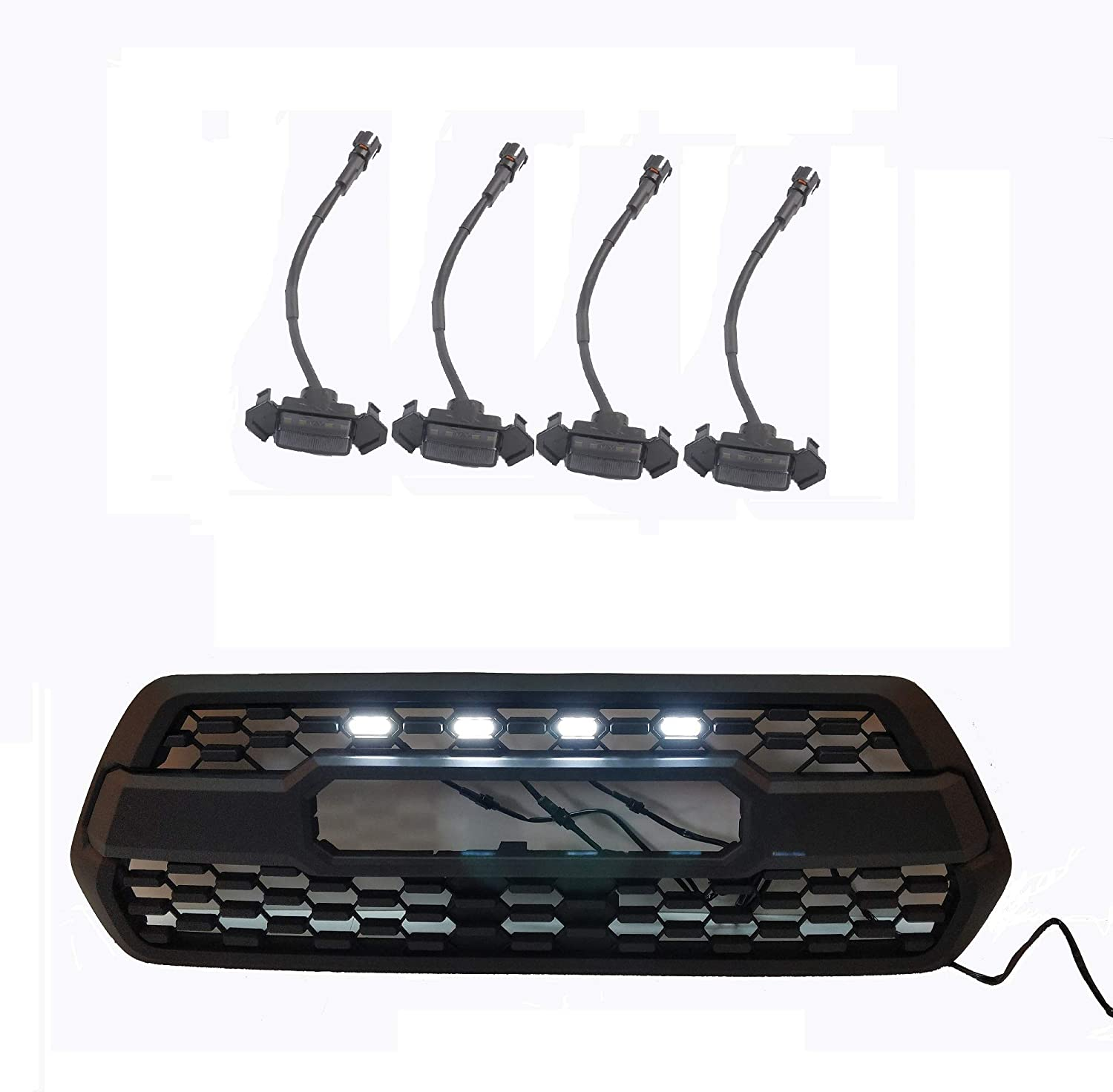 4 Piece,Yellow ZGAUTO Fits TACOMA TRD Grille LED Amber Lights Fit for TACOMA TRD Grille 2016 2017 2018
