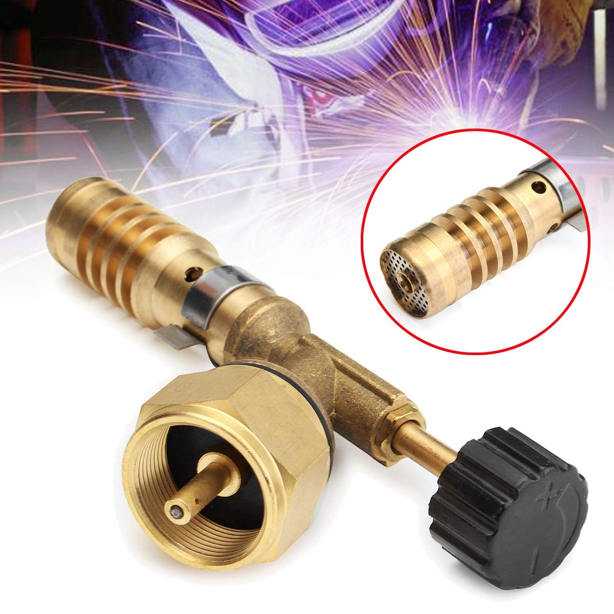 Fevas Copper Aluminum High Temp Gas Turbo Torch Electric Soldering Iron Kit Ignitor Starter Burning Adapter for BBQ