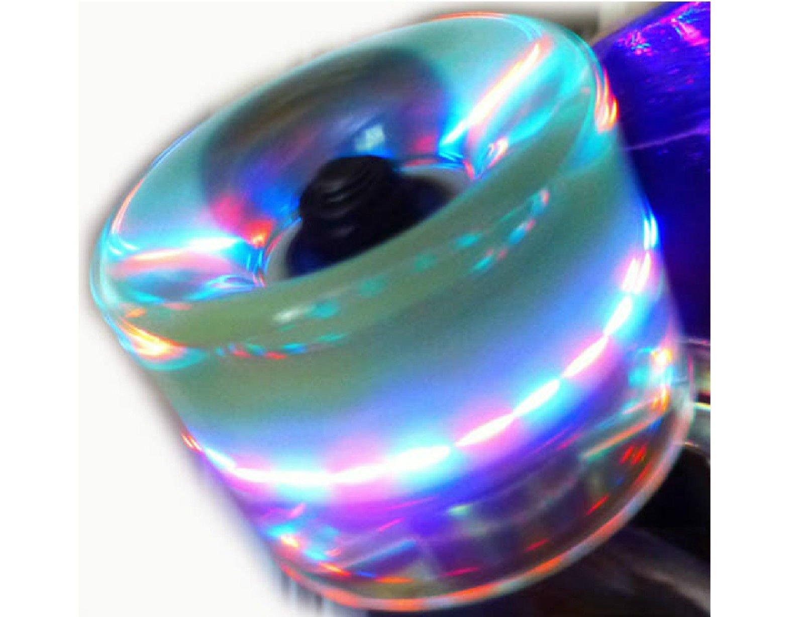 Owlsome Skateboard 22'' x 6'' Rechargeable LED Light Up Deck/Wheels Plastic Mini Cruiser (Orange) by Owlsome Skateboard (Image #3)