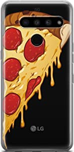 Mertak Clear Phone Case Compatible with LG Stylo 6 5 4 K61 K51S K41S K30 K20 Q70 Q60 Lightweight Pizza Silicone Food TPU Cool Protective Slice Design Pepperoni Flexible Slim Cute Cover Print