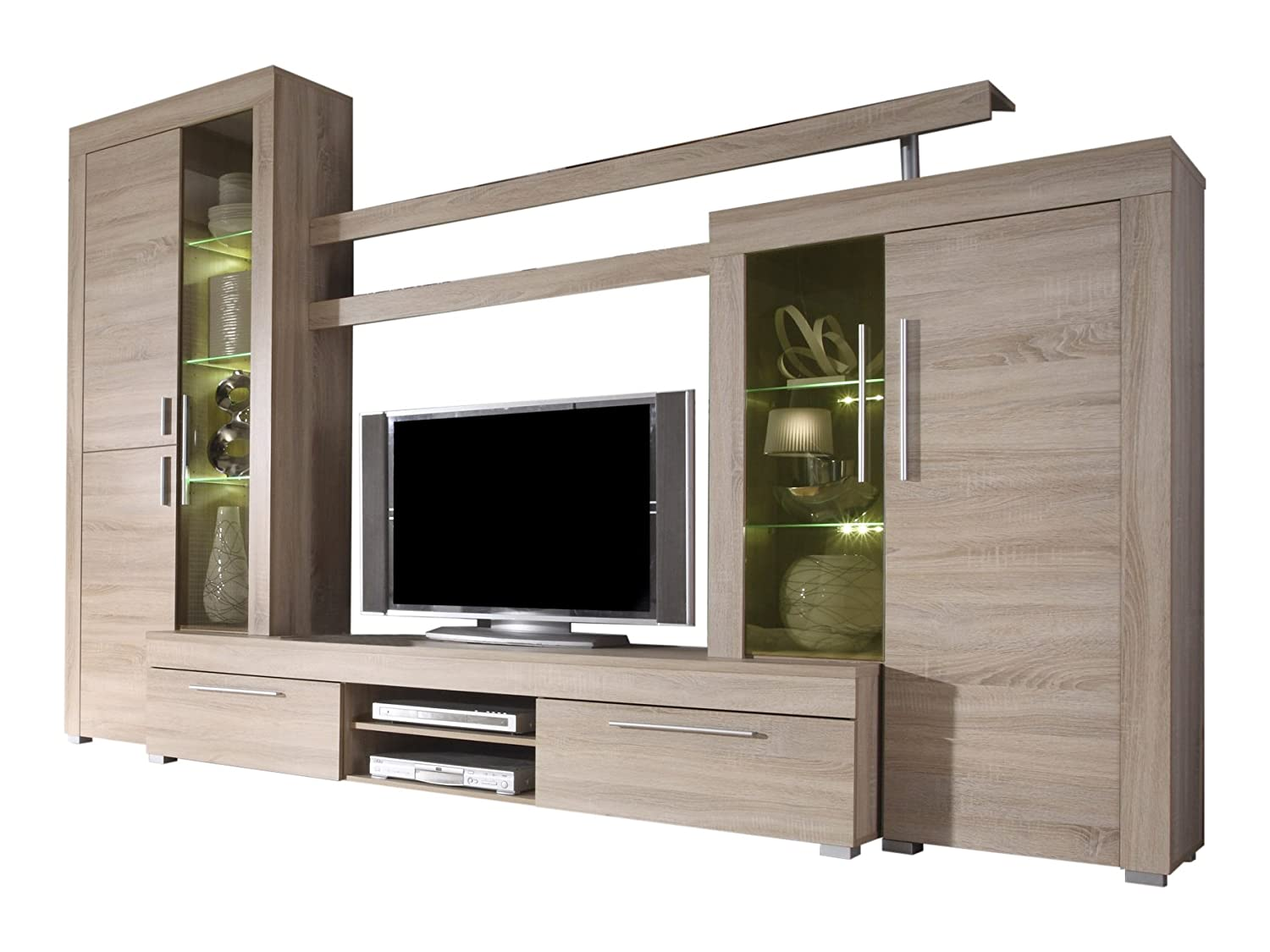 Furnline Boom Rough Cut And Burnished Glass TV Stand Wall Unit Living Room  Furniture Set, Light Oak Part 83