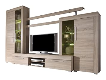 Furnline Boom Rough Cut And Burnished Glass TV Stand Wall Unit Living Room Furniture Set