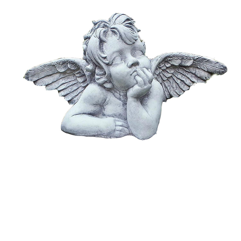 Steinfigur Engel Angel auf Herz Gartenfigur Flügel Skulptur Steinguss Frostfest