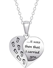 """Connections from Hallmark Stainless-Steel Inscribed Baby Footsteps Heart Pendant, 18-20"""""""