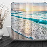 "ALFALFA Home Bathroom Decorative Polyester Fabric Printed Sea Beach Theme Shower Curtain with Hooks, Waterproof, Mildew Resistant 60"" W x 72"" H (150CM x 180CM) - Sea Sunrise"