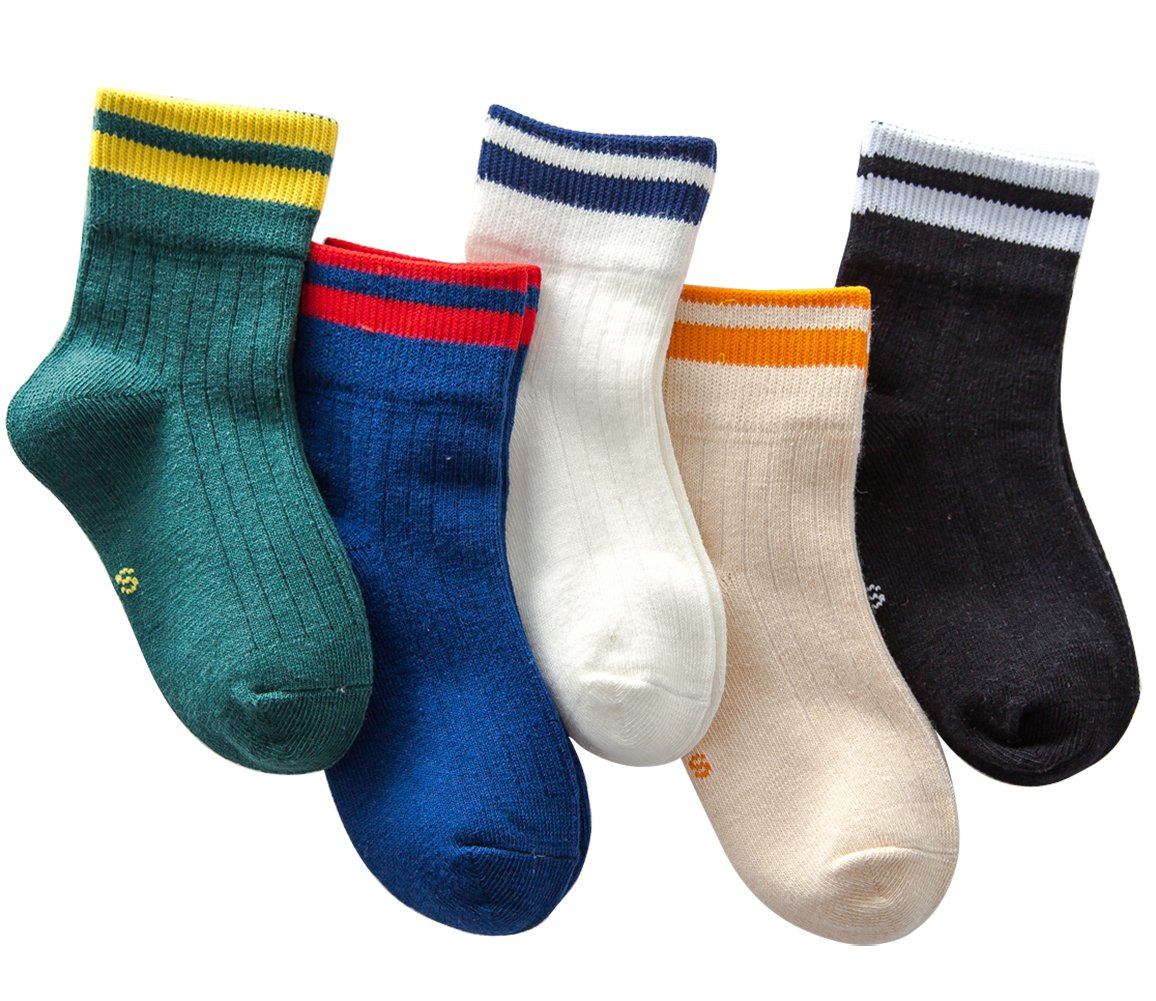 Little Boys Boys Color Stripe Seamless Cotton Dress Socks Kids Toddler Socks 5 Pairs(Assorted Color,M(6-8 Years))
