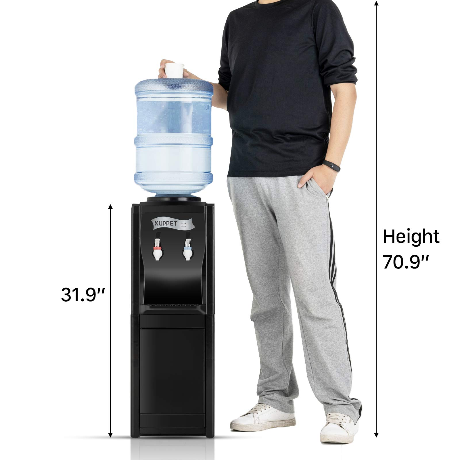 KUPPET Water Cooler Dispenser-Top Loading Freestanding Water Dispenser with Storage Cabinet, 5 Gallon, Two Temperature Settings-Hot(185℉-203℉), Normal Temperature(50℉-59℉), BLACK(32'', Black) by KUPPET (Image #7)