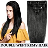 Extension Cheveux Clip Naturel Maxi Volume - 8 Pcs Double Weft Full Head 100% Remy Human Hair Lisse