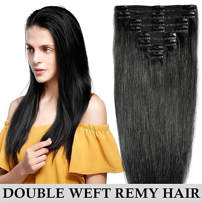 Extensiones de pelo humano de doble trama con clip; Pelo Remy real, cabeza completa, 8 piezas de 25 cm-56 cm y 110-160 g; liso de grueso natural, ...