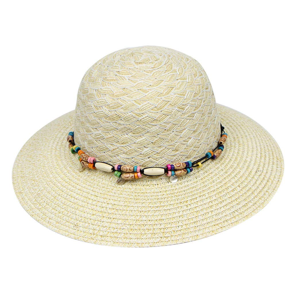 a269287a Amazon.com: Cap,Longay Summer Women Large Brimmed Flat Wide Brim Beach  Floppy Bead Paper Straw Hat (White): Arts, Crafts & Sewing