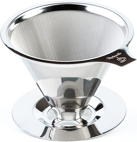 8973 6A36 Portable Coffee Funnel Coffee Filter Coffeemaker Stainless Steel Cone