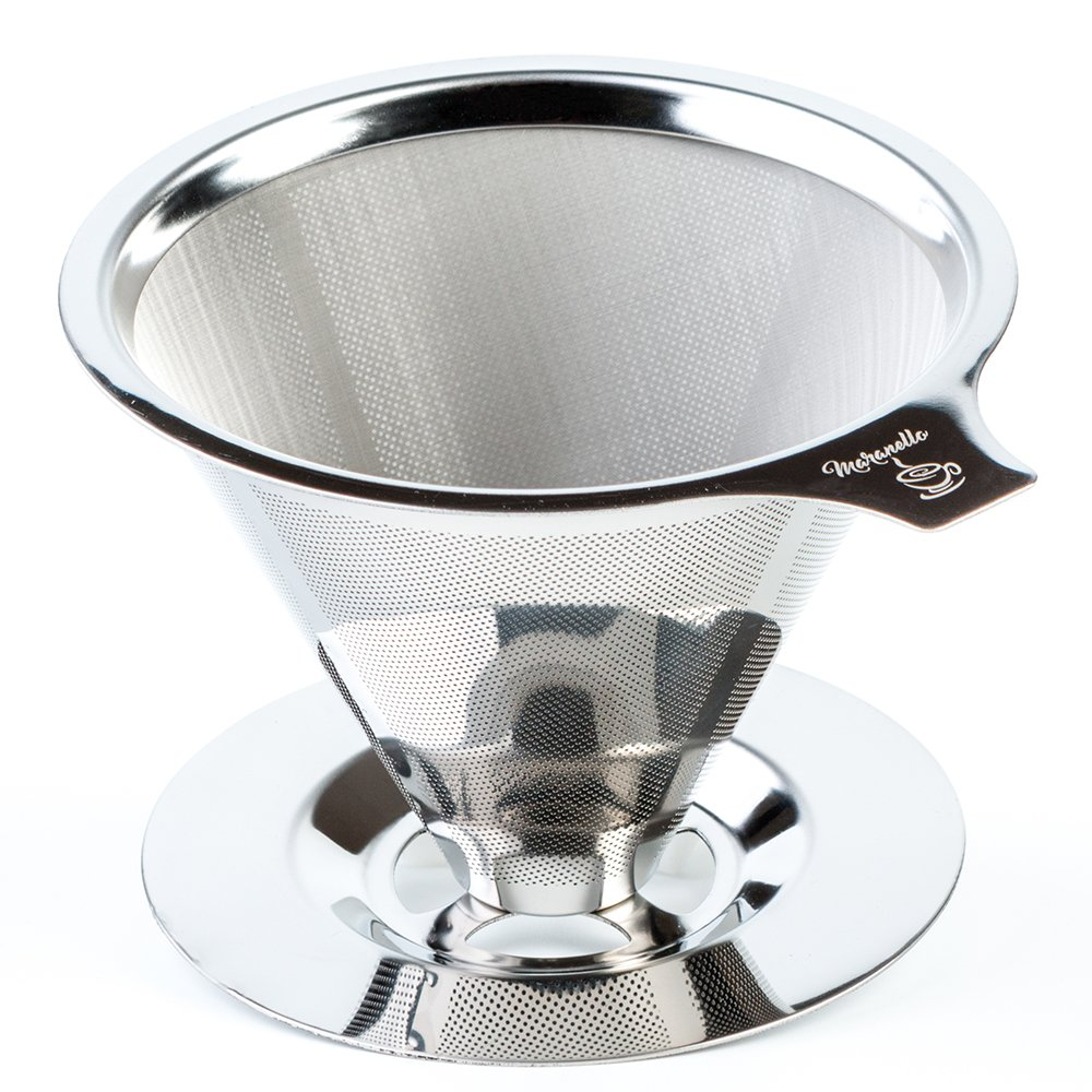 Maranello Caffé Pour Over Coffee Dripper with Cup Stand, Cone Filter Drip Coffee Maker, Stainless Steel Reusable Paperless Portable Coffee Filter Brewer by Maranello Caffe