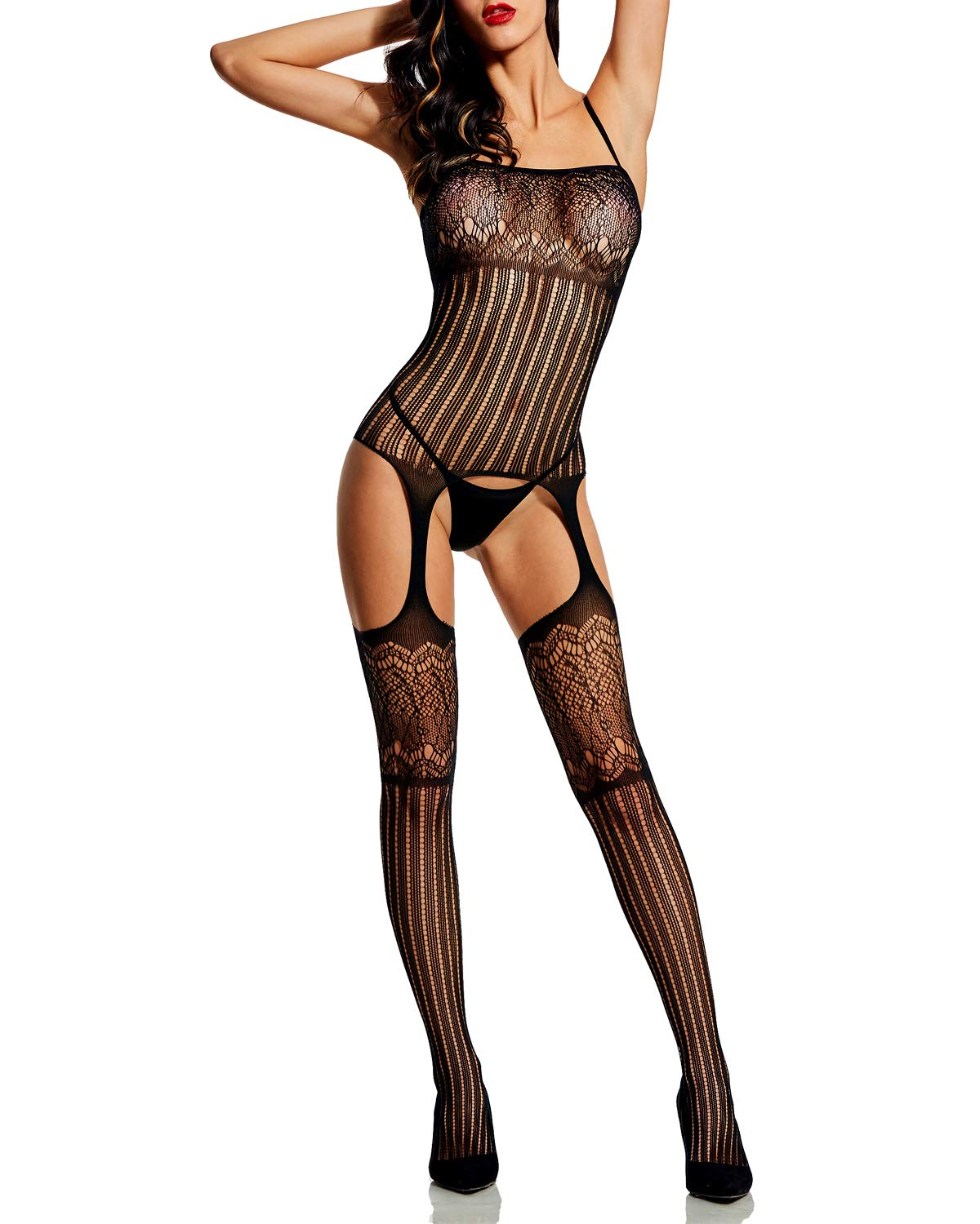 Alebear Women's Striped Lingerie Sexy Fishnet Bodystocking Crotchless Bodysuit Tights