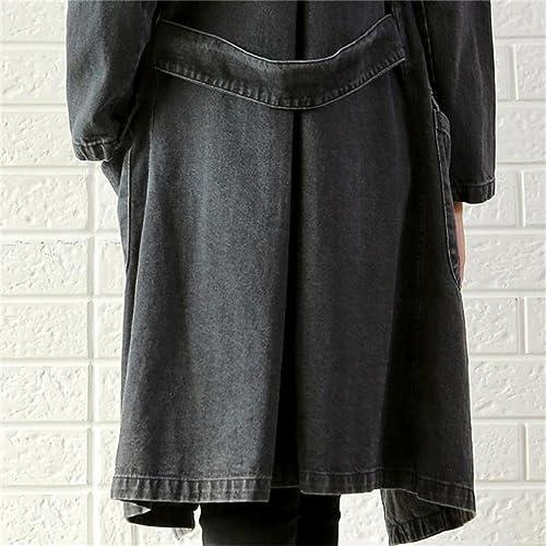 Honghu Mujer Encapuchado Chaquetas Silm Fit Jeans Manga Larga Cárdigan Corta Abrigo Vaquera
