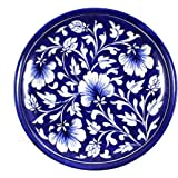 India Meets India Ceramic 1 Piece Serving Plate/Wall Hanging Plate/ Decorative Accent Plate, 8-inch(Dark Blue with White Flower)