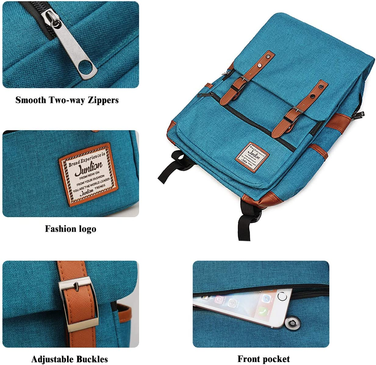 Junlion Sac /à Dos Vintage pour Ordinateur Portable pour MacBook 15,6 Pouces One Size Bleu pour Femme et Homme