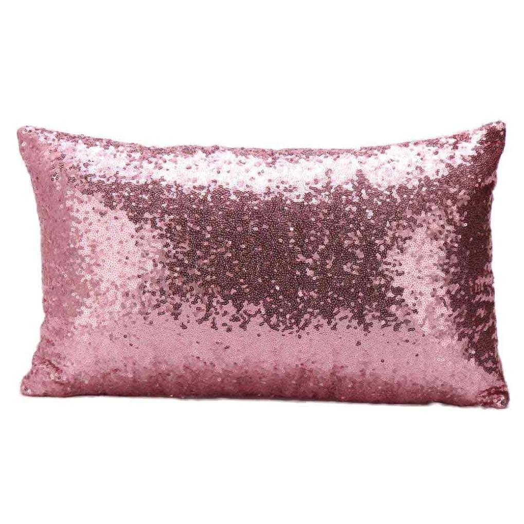 Cushion Cover,Webla Sequins Throw Pillow Case Rectangle Sofa Cafe Home Decor Festival Cushion Covers 30cm*50cm (Pink)