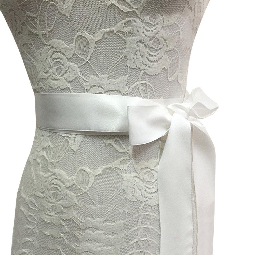 E-Clover Rhinestone Ribbon Sash Belt for Bridal Women's Wedding Dress Belt (Off White) by E-Clover (Image #5)